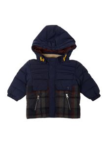Boys woolen checked down jacket