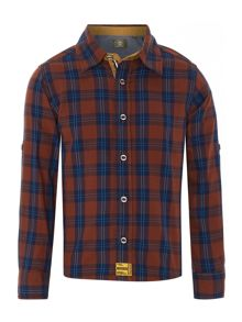 Boys twill checked long rolled up sleeve
