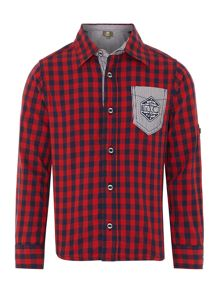 Boys twill gingham long rolled up sleeve