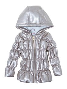 Baby girls faux leather parka