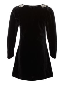 Girls panne velvet long sleeve dress