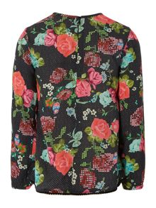 Girls printed long sleeve blouse