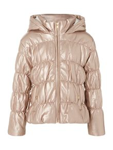 Girls faux leather parka