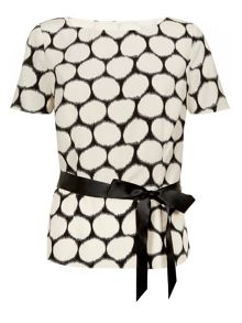Satin belt spot blouse