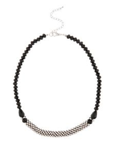 Silver and black bead necklace