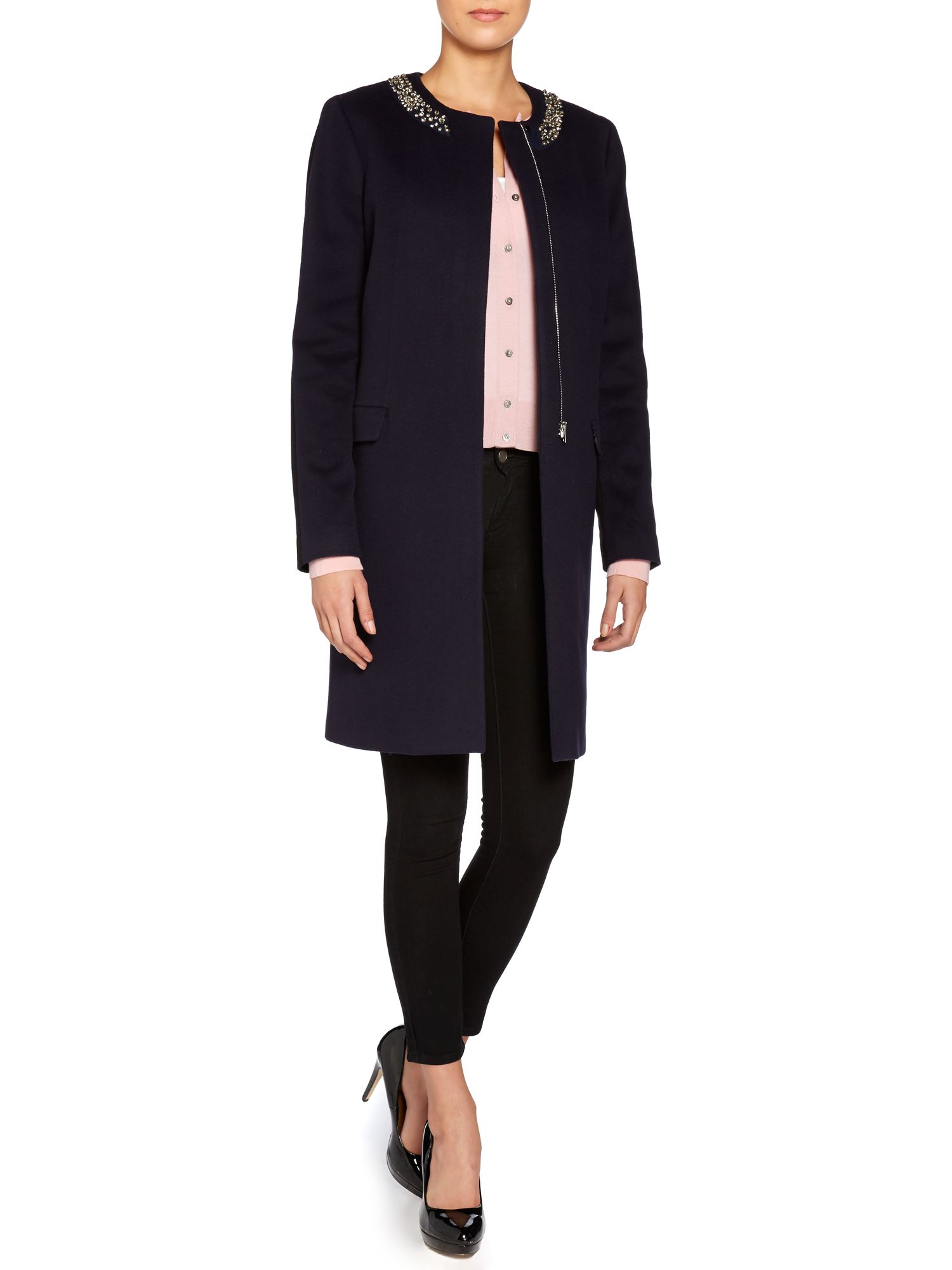 Wool dress coat with embellished collar