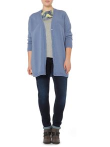 Mughetto front long line wool cashmere cardigan
