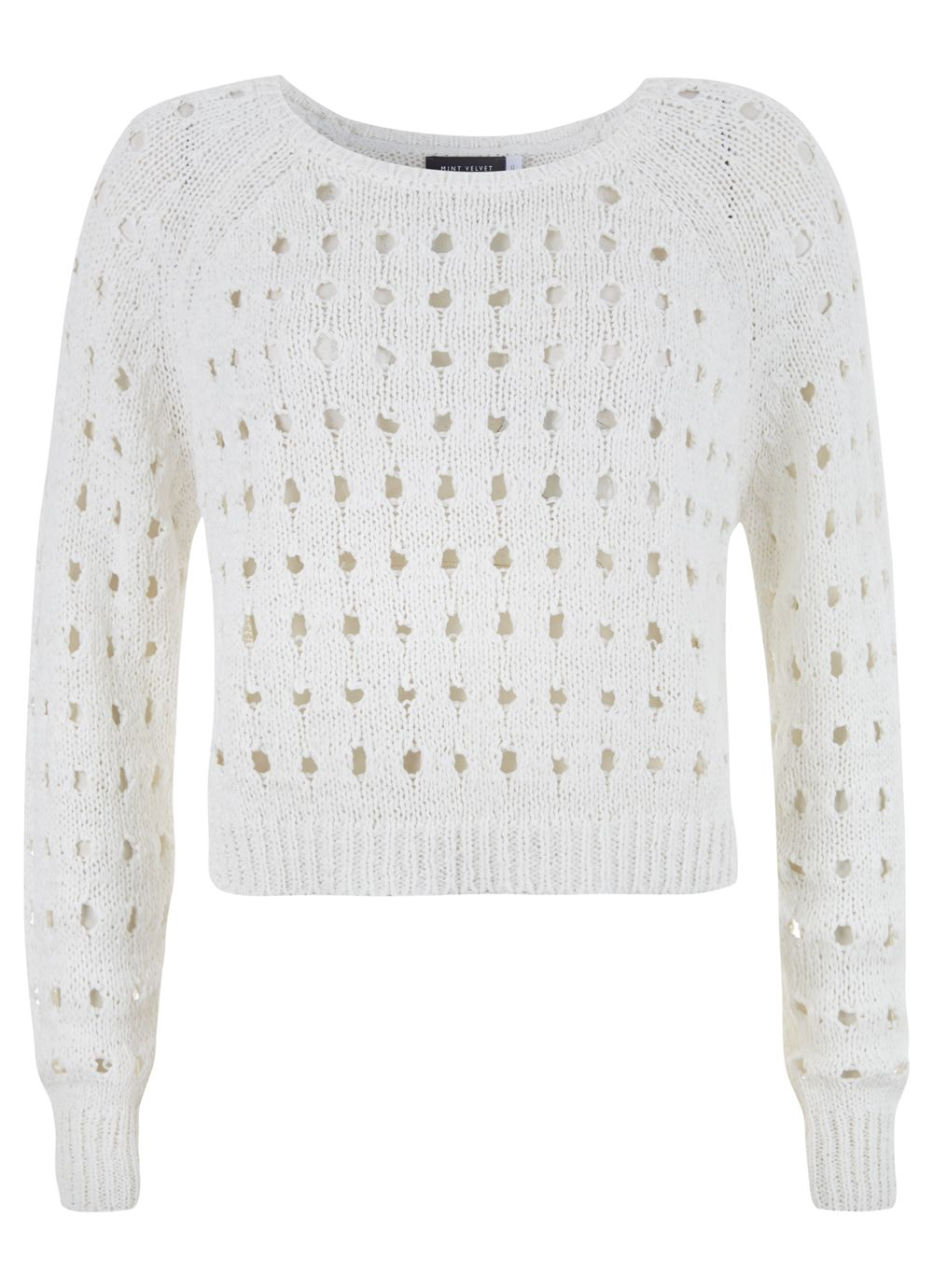 Ivory Crop Holey Knit