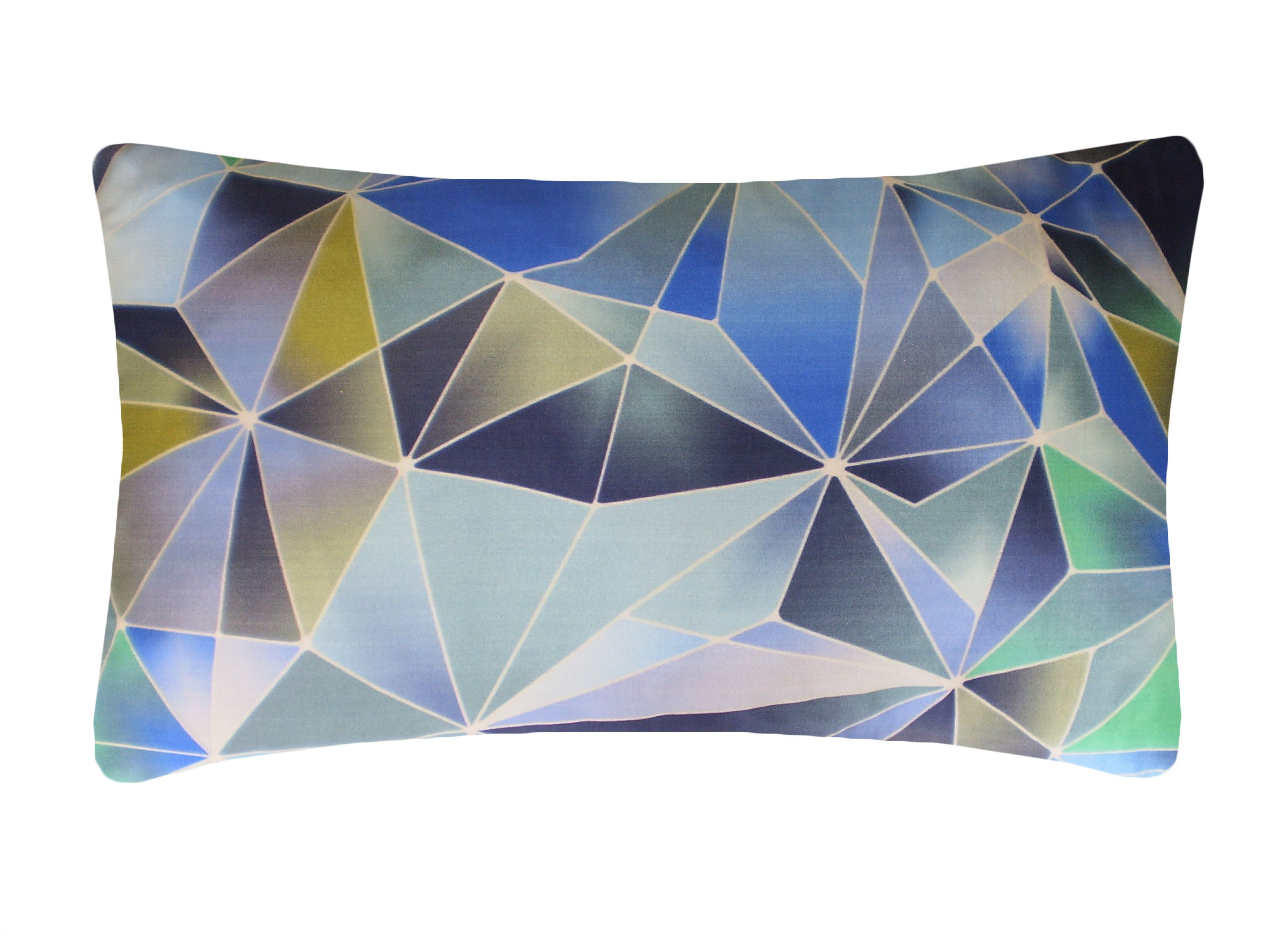 Image of Nitin Goyal Stained Glass cushion in Blue 30x50