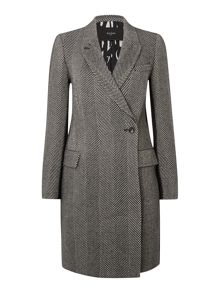 Wool herringbone boyfriend coat
