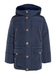 Boy`s hooded padded coat with suede trims