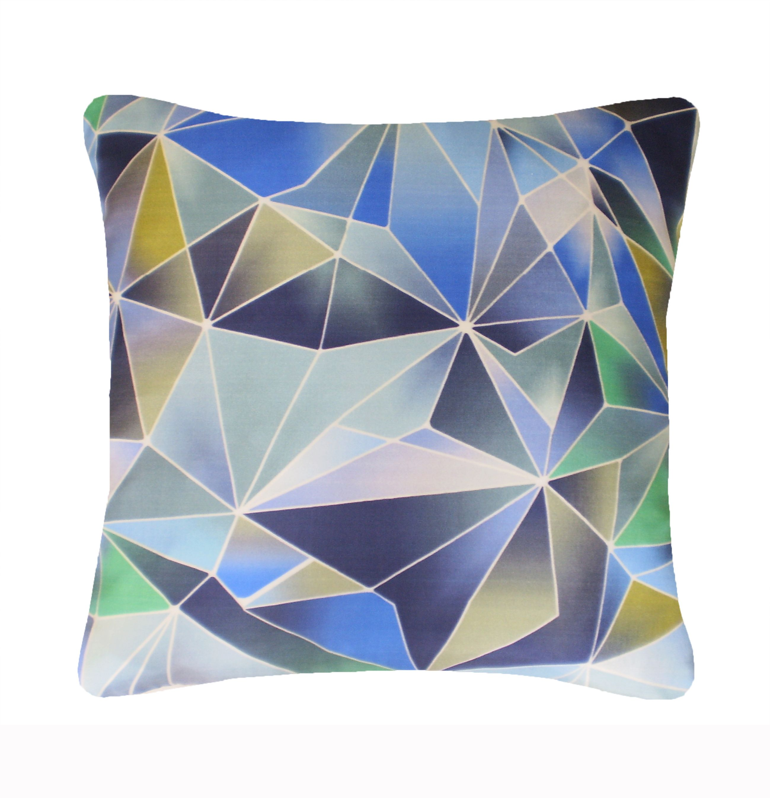 Image of Nitin Goyal Stained Glass cushion in Blue 45x45