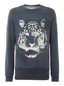 Tiger print crew neck applique sweatshirt