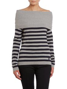 Long sleeve cowl neck knit