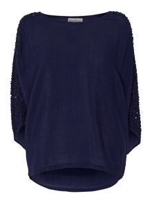 Batwing sequin sleeve blouse