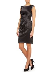 Vince Camuto Satin dress with embellished sleeves