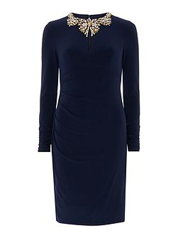 Rusched long sleeve dress with embellished neck