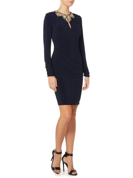 Vince Camuto Rusched long sleeve dress with embellished neck