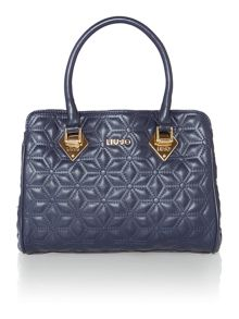 Jasmine navy quilted bowling bag