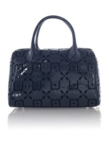 Melaine navy embossed small bowling bag