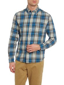 S-Watis Flannel Check Button Collar Shirt