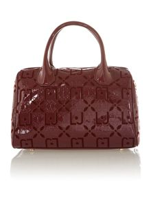 Melaine red embossed small bowling bag