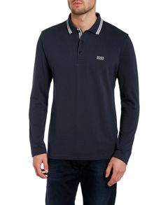 Long sleeve tipped collar polo