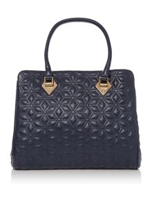 Jasmine navy quilted tote bag
