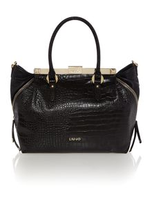 Brigitte black croc tote bag