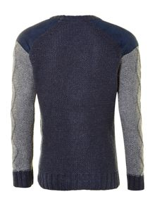 Boy`s cable knitted jumper with suede detail