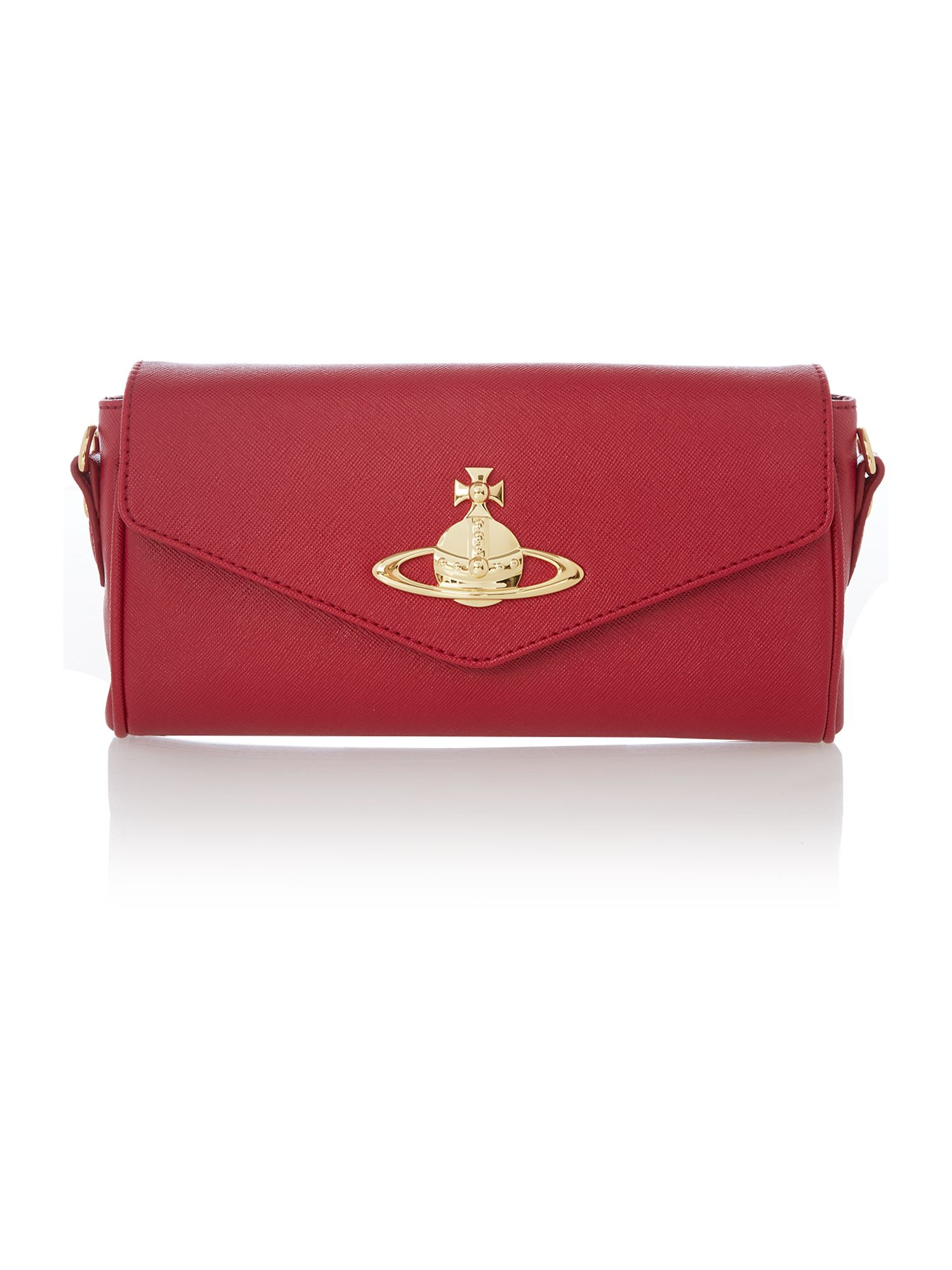 Divina red small flapover cross body bag
