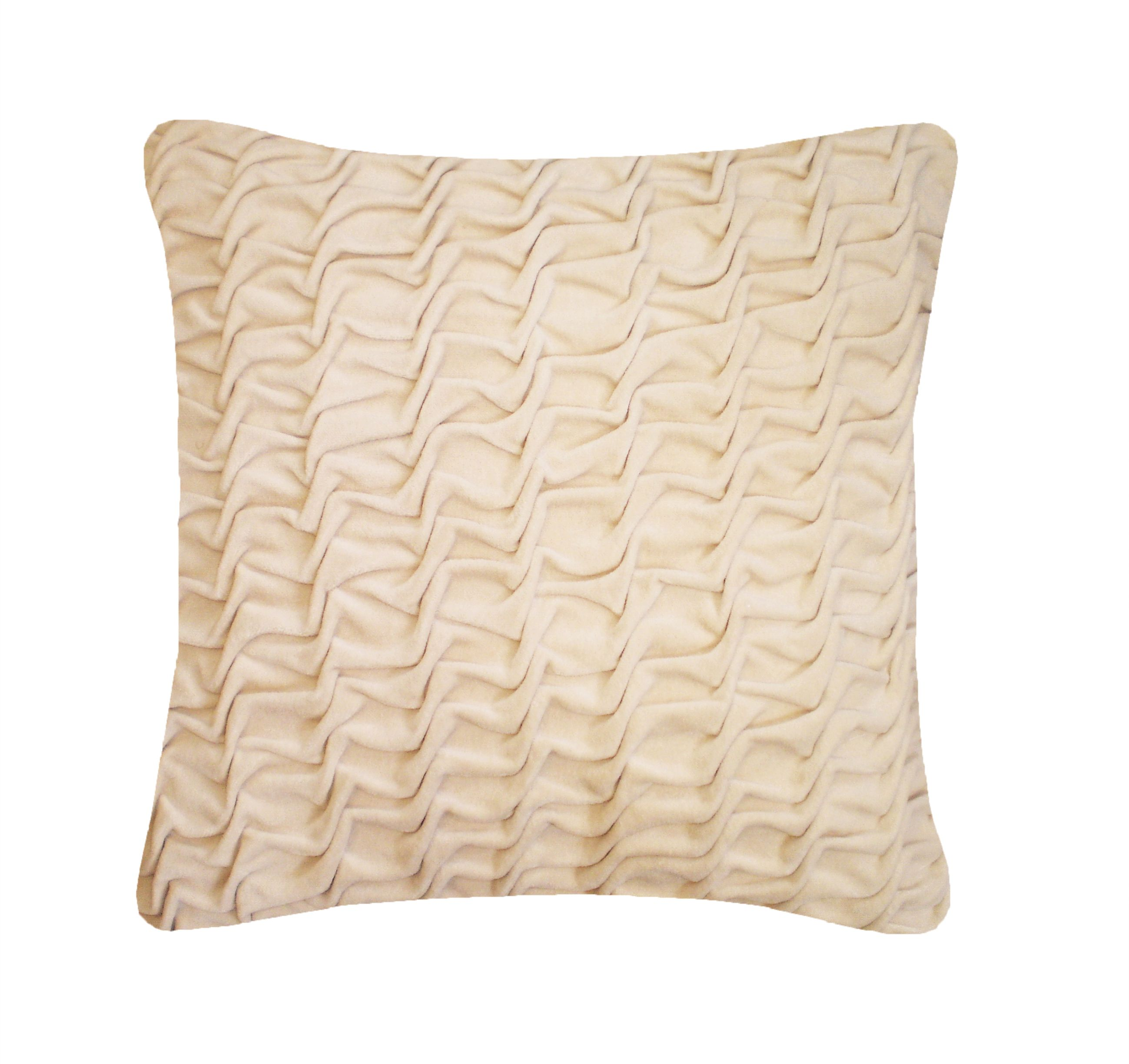 Image of Nitin Goyal Hand Smocked Swirl Velvet cushion in Ivory 40x40