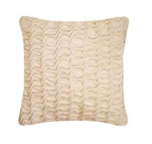 Hand Smocked Swirl Velvet cushion in Ivory 40x40