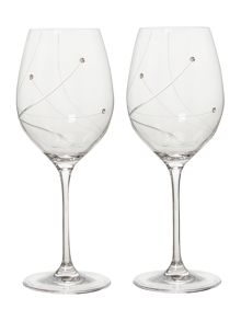 Linea Angelina swarovski crystal red wine glasses set 2
