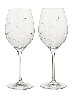 Angelina swarovski crystal two white wine glasses