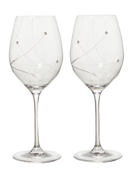 Linea Angelina swarovski crystal two white wine glasses
