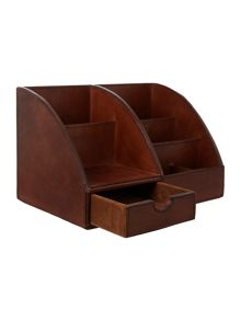 Tan leather desk organiser