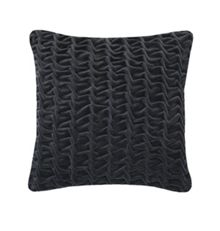 Hand Smocked Swirl Velvet cushion in charcoal