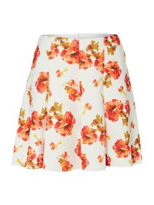 Fit and flare floral print scuba skirt