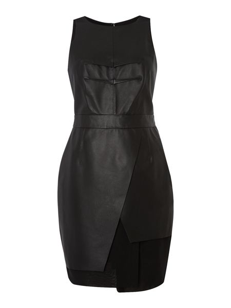Label Lab Leather and chiffon structured dress