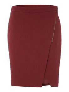 Wrap Textured Skirt with Zip