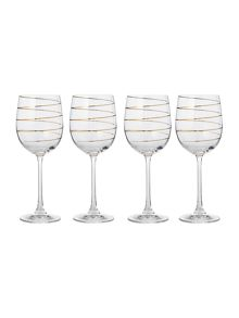 Gold spiral wine set of 4