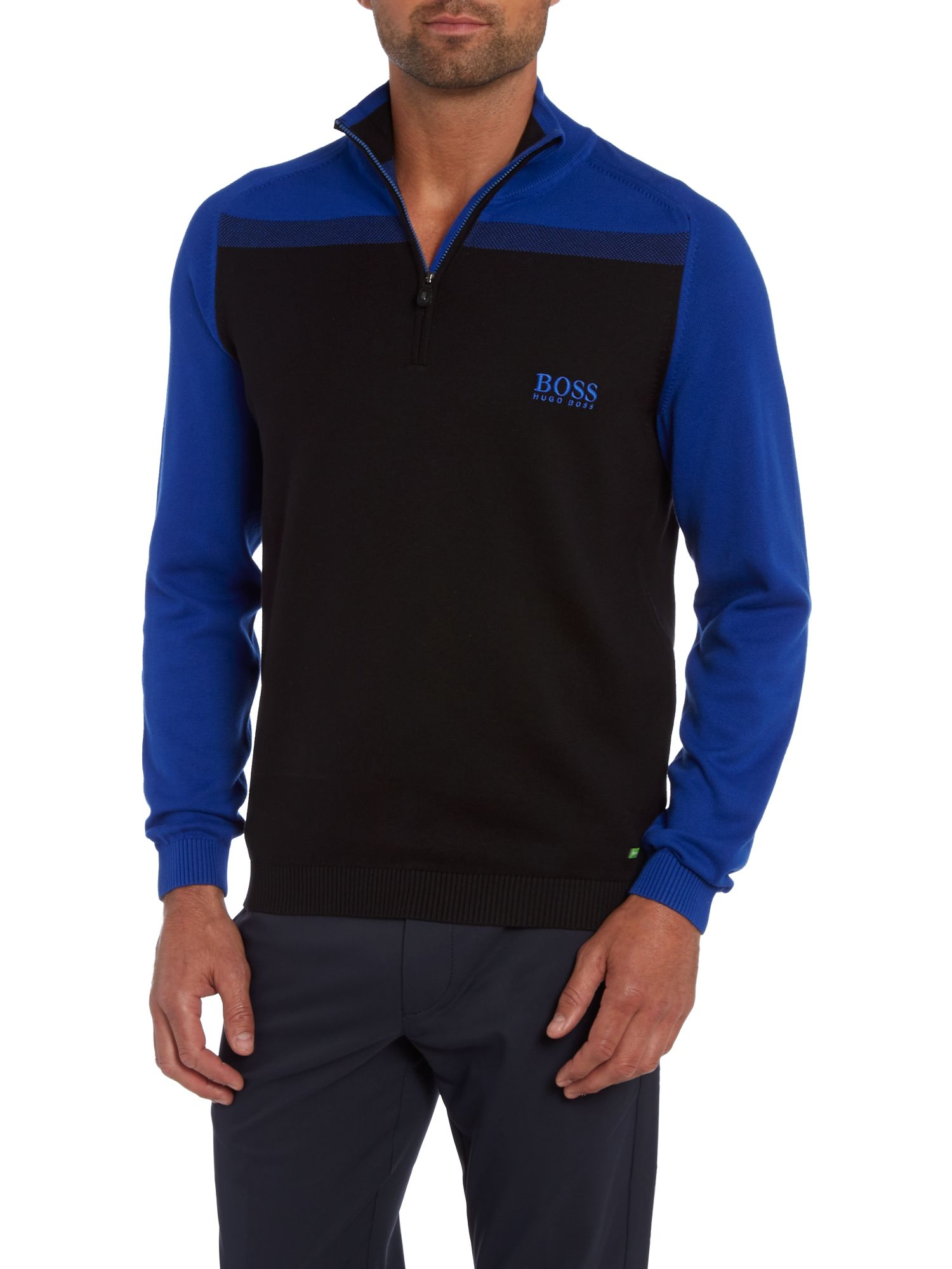 Colour block 3/4 zip jumper