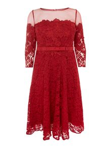 Plus Size Adeke lace with long sleeve dress