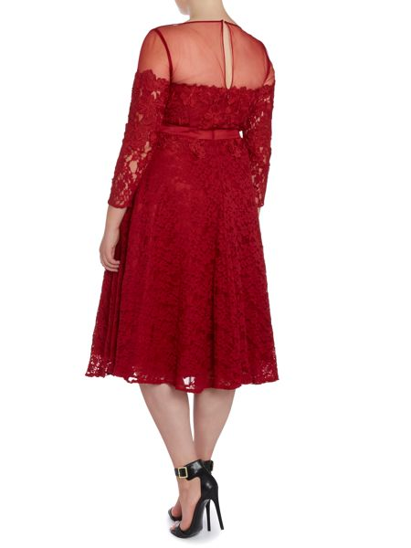Viviana Plus Size Adeke lace with long sleeve dress