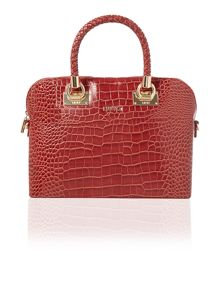Anna red croc dome handbag