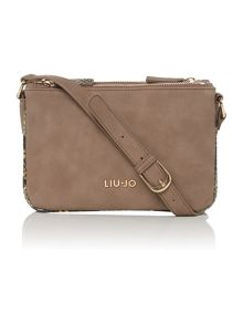 Febe python neutral triple cross body bag