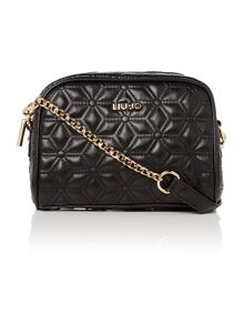 Jasmine black quilted cross body bag