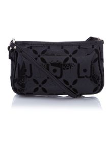 Melaine black embossed cross body bag