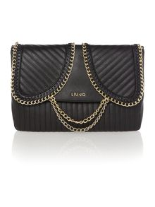 Christal black large chain shoulder bag